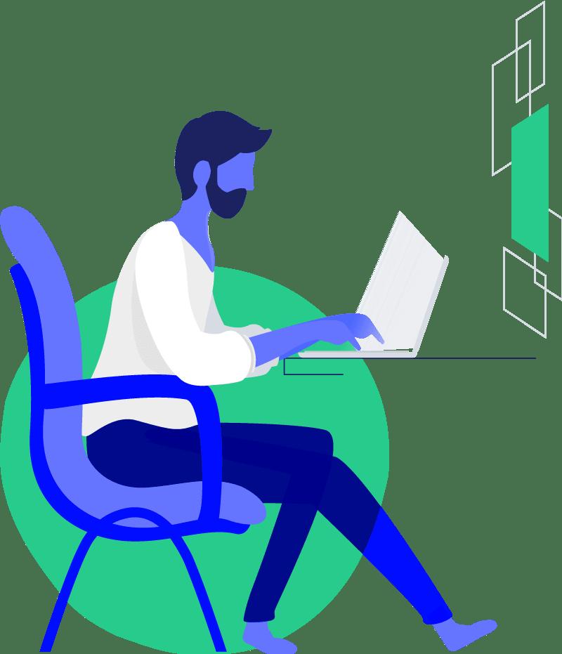 Mezczyzna na fotelu przy laptopie